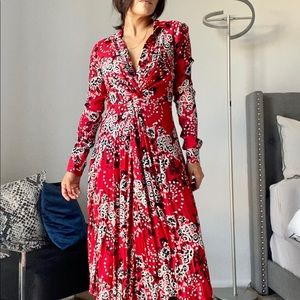 Free People red floral midi dress